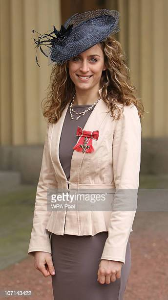 Skeleton Bob Olympic gold medallist Amy Williams with her MBE medal awarded by the Princess Royal at an investiture ceremony at Buckingham Palace on...