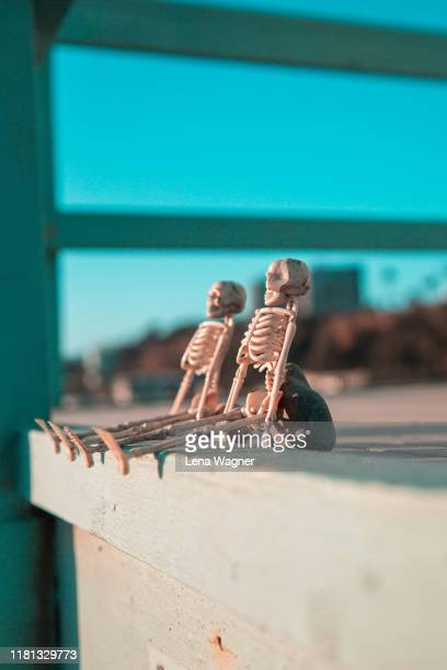 skeleton friends on lifeguard tower - lena spoof stock pictures, royalty-free photos & images
