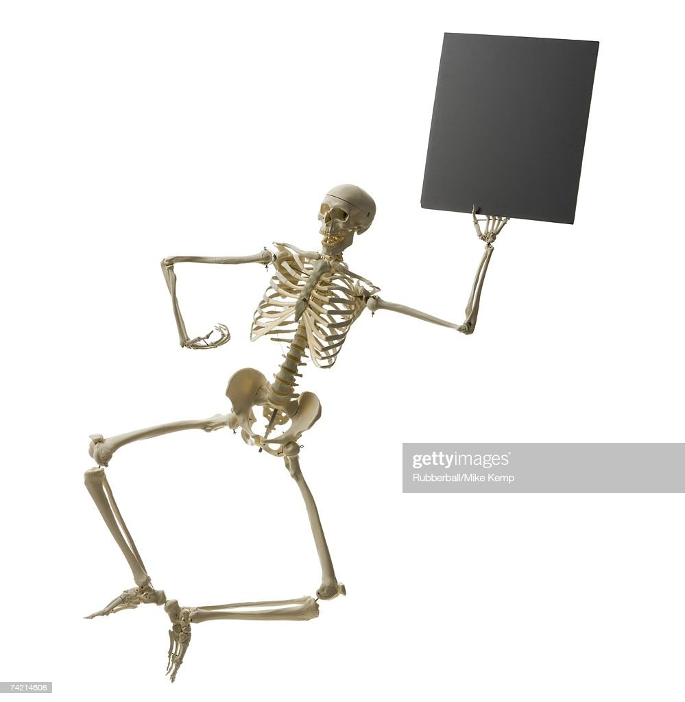 Skeleton Leaping With Blank Sign Stock Foto Getty Images
