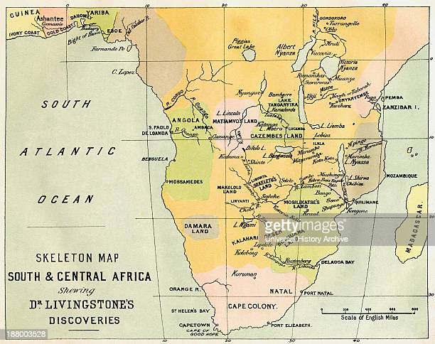 Skeleton Map Of South And Central Africa Showing David Livingstone's Discoveries From The Life And Explorations Of Dr Livingstone Published C1875