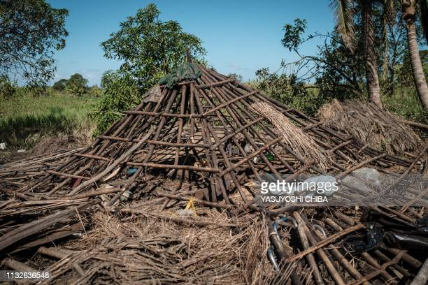 Skeleton of a house which was destroyed by the cyclone Idai in Tica Mozambique on March 24 2019 Cyclone Idai smashed into Mozambique's coast...