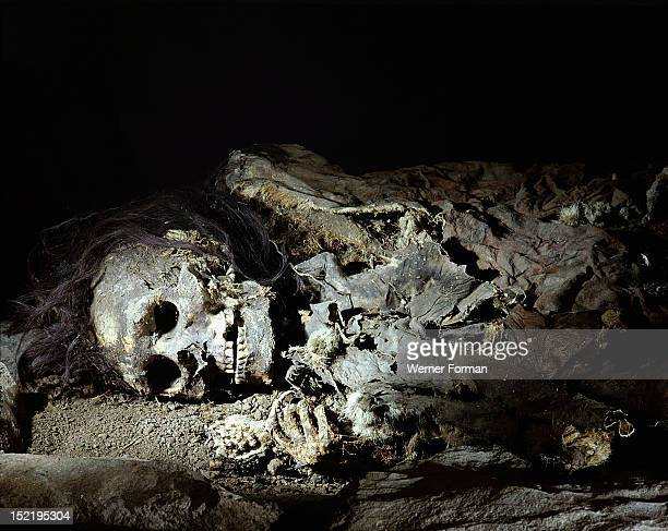 Skeleton of a man  His body has been deposited in a cave in a foetal position typical of early Plains burials and symbolic of rebirth It was believed...