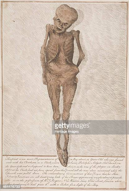 Skeleton of boy about 12 years old, found in the vault under St Botolph, Aldgate in London, 1742. With account of finding of body below.