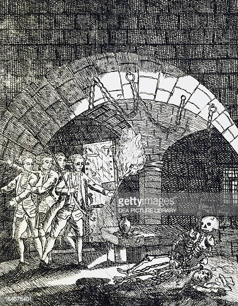 Skeleton of the man in the iron mask found in the Bastille in Paris after July 14 engraving France 18th century