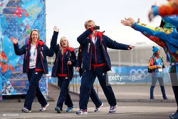 Skeleton racer Elizabeth Yarnold figure skater Penny Coomes and figure skater Nicholas Buckland of Great Britain visit the Olympic Park ahead of the...