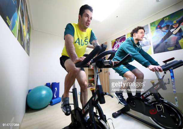 Skeleton racer John Farrow and luge racer Alex Ferlazzo of Team Australia work out during previews ahead of the PyeongChang 2018 Winter Olympic Games...