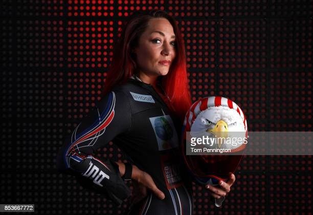 Skeleton racer Katie Uhlaender poses for a portrait during the Team USA Media Summit ahead of the PyeongChang 2018 Olympic Winter Games on September...