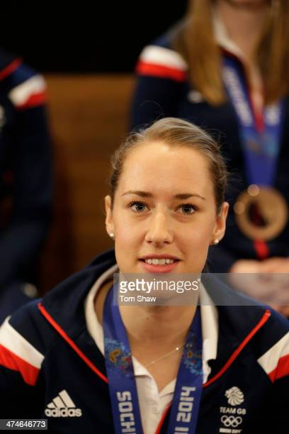 Skeleton racer Lizzy Yarnold of Great Britain talks to the press during the Team GB Welcome Home Press Conference at the Sofitel Hotel on February 24...