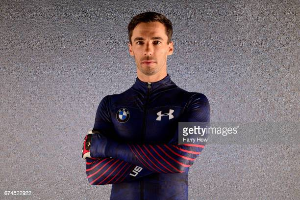Skeleton racer Matt Antoine poses for a portrait during the Team USA PyeongChang 2018 Winter Olympics portraits on April 28 2017 in West Hollywood...