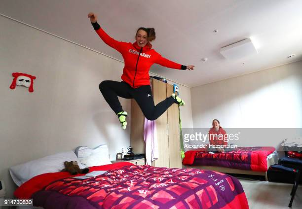 Skeleton racers Anna Fernstaedt and Tina Hermann of Team Germany hang out in their Athletes' Village apartment during previews ahead of the...