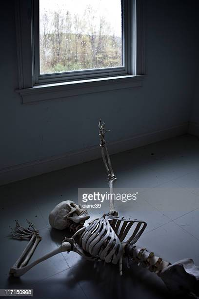 skeleton reaching for a window