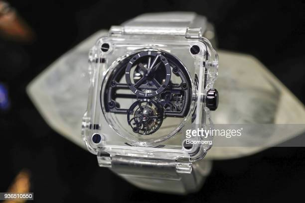 Skeleton Tourbillon luxury wristwatch produced by Bell Ross stands on display during day two of the 2018 Baselworld luxury watch and jewelry fair in...