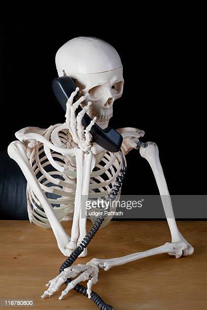 a skeleton using a landline phone - human skeleton stock photos and pictures