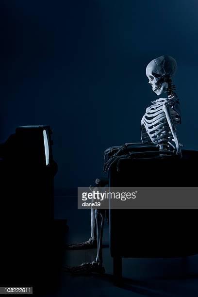Skeleton Watching Television in the Dark