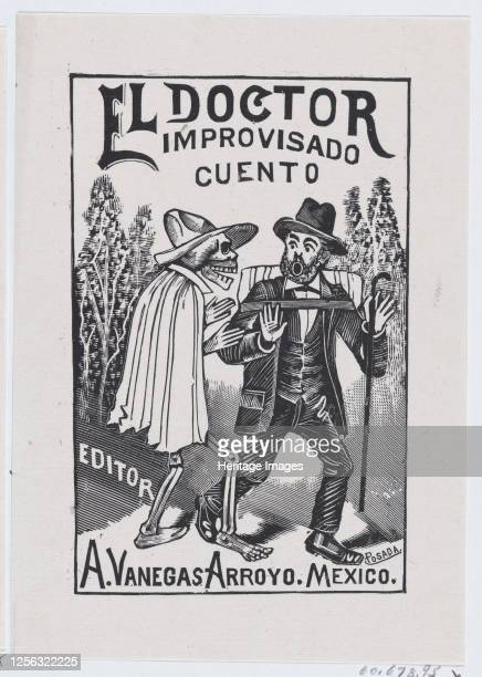 A skeleton wearing a cape speaking to a frightened man with a cane and backpack illustration for 'El Doctor Improvisado ' edited by Antonio Vanegas...