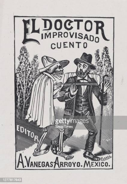 Skeleton wearing a cape speaking to a frightened man with a cane and backpack, illustration for 'El Doctor Improvisado ' edited by Antonio Vanegas...