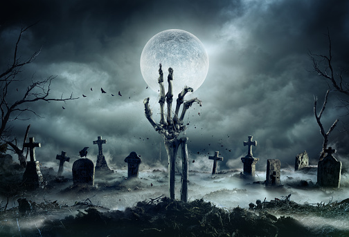 Skeleton Zombie Hand Rising Out Of A GraveYard - Halloween 1171357252