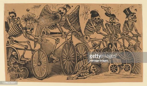 Skeletons riding bicycles circa 1900 Artist José Guadalupe Posada