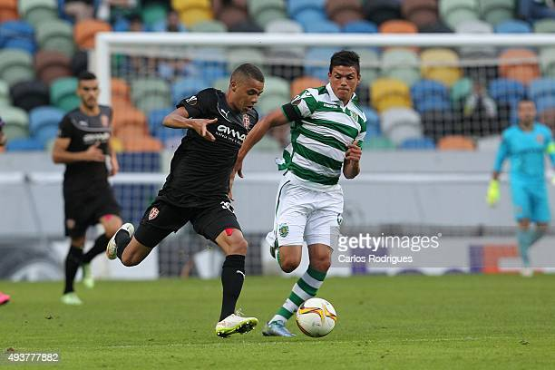 Skenderbeu's midfielder Esquerdinha tries to escape Sporting's defender Jonathan Silva during the match between Sporting CP and KF Skenderbeu for...