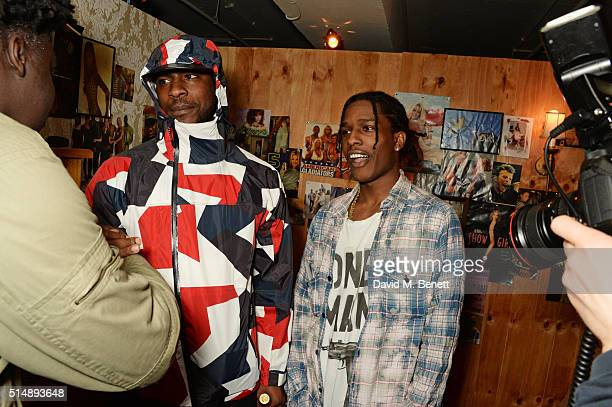 Skepta and A$AP Rocky attend the launch of 1st GUESS Originals X A$AP Rocky collection within Selfridges on March 11 2016 in London England