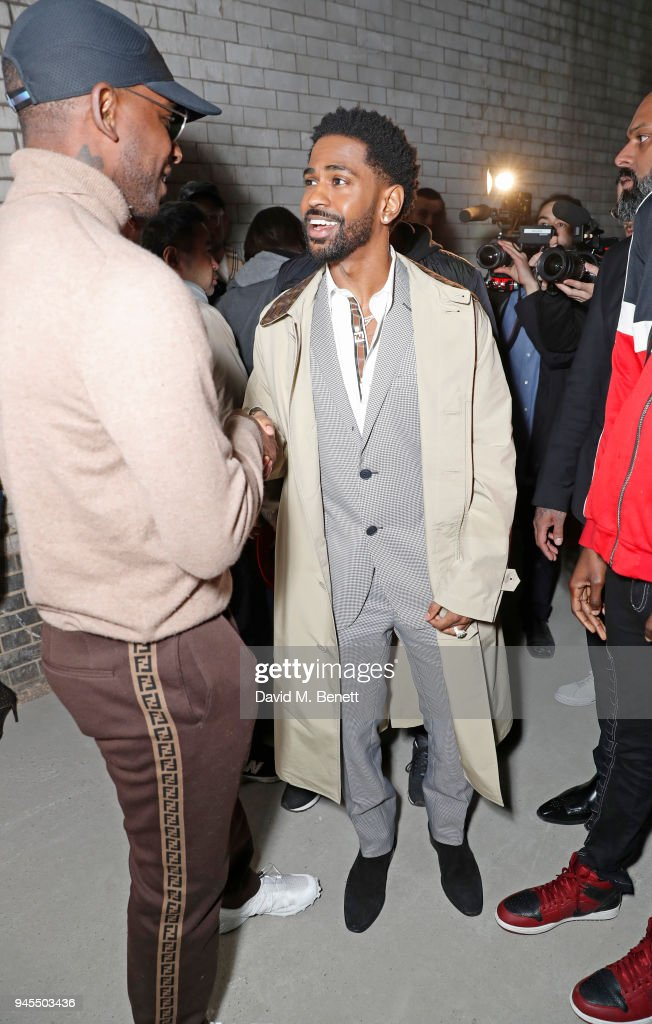 Skepta (L) and Big Sean attend the FENDI FF Reloaded Experience on April 12, 2018 in London, England.