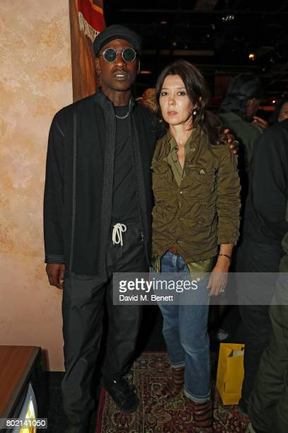 Skepta and Katy England attend the launch of Skepta's new fashion label Mains at Selfridges on June 27 2017 in London England