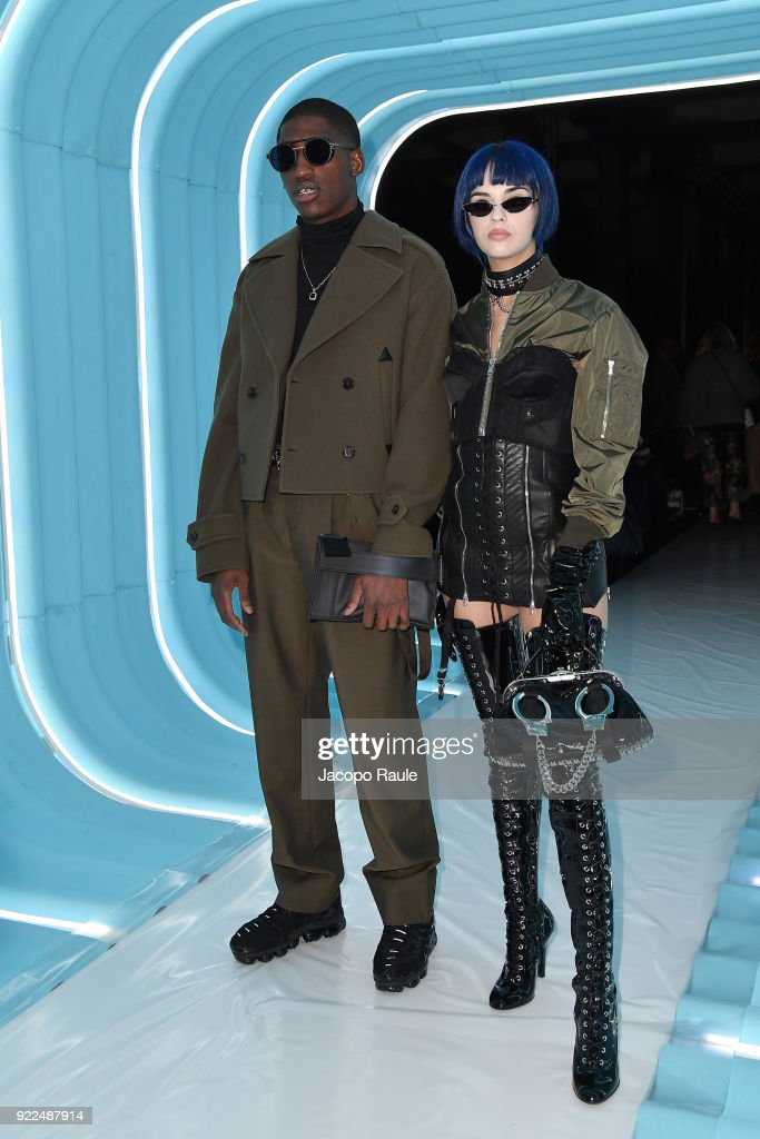 Skepta and Sita Abellan attend the Moschino show during Milan Fashion Week Fall/Winter 2018/19 on February 21, 2018 in Milan, Italy.