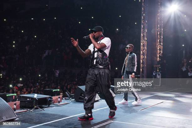 Skepta and Wizkid performs on stage during AFROREPUBLIK festival at The O2 Arena on May 26 2018 in London England