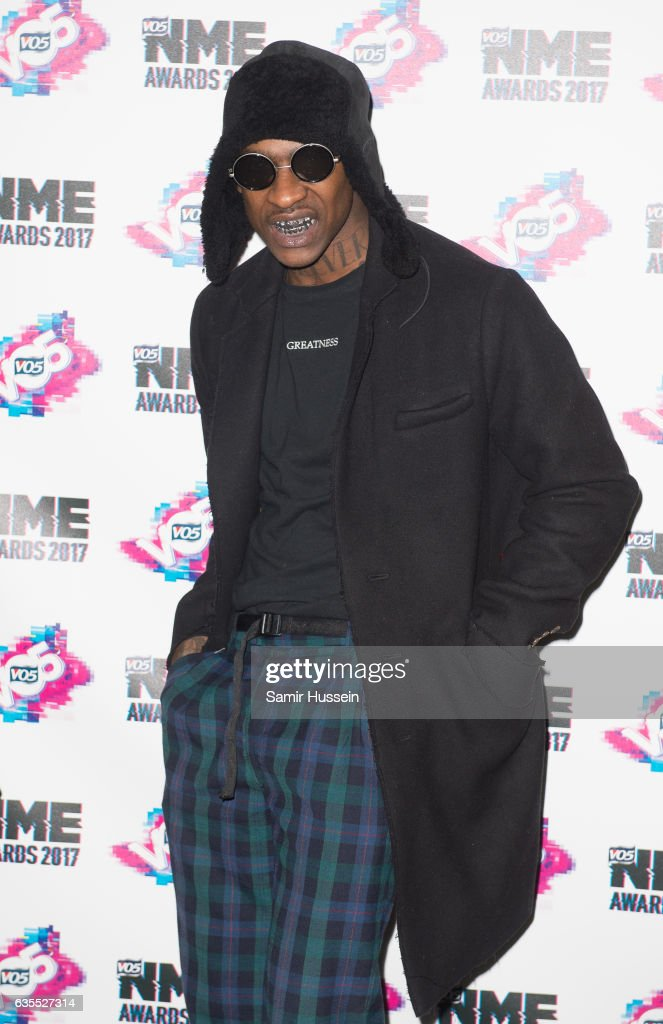 Skepta arrives at the VO5 NME awards 2017 on February 15, 2017 in London, United Kingdom.