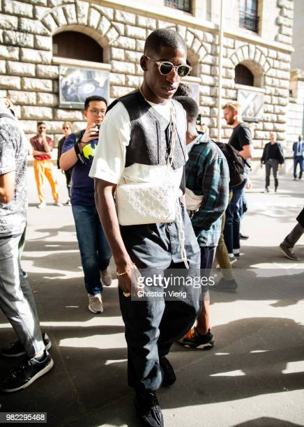 Skepta is seen outside Dior Homme on day five of Paris Fashion Week Menswear SS19 on June 23 2018 in Paris France