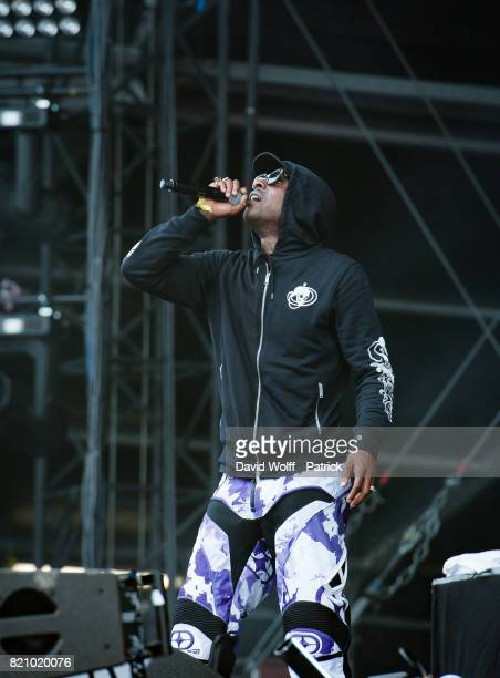 Skepta performs during first Lollapalooza in France at Hippodrome de Longchamp on July 22 2017 in Paris France