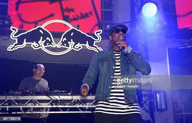 Skepta performs during the Red Bull Studios Future Underground third night at Collins Music Hall on September 11 2015 in London England