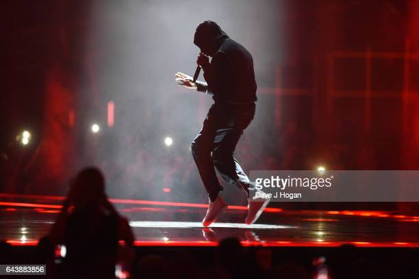 ONLY Skepta performs on stage at The BRIT Awards 2017 at The O2 Arena on February 22 2017 in London England