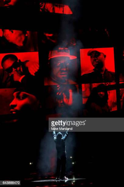 Skepta performs on stage at The BRIT Awards 2017 at The O2 Arena on February 22 2017 in London England