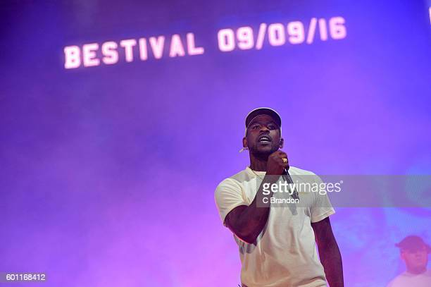 Skepta performs on stage during Day 2 of Bestival at Robin Hill Country Park on September 9 2016 in Newport Isle of Wight