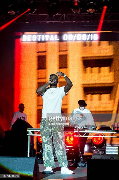 Skepta performs on the mainstage with DJ Maximum during the 2nd day of Bestival 2016 at Robin Hill Country Park on September 10 2016 in Newport Isle...