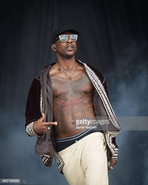 Skepta performs on the Pyramid Stage Glastonbury Festival 2016 at Worthy Farm Pilton on June 24 2016 in Glastonbury England