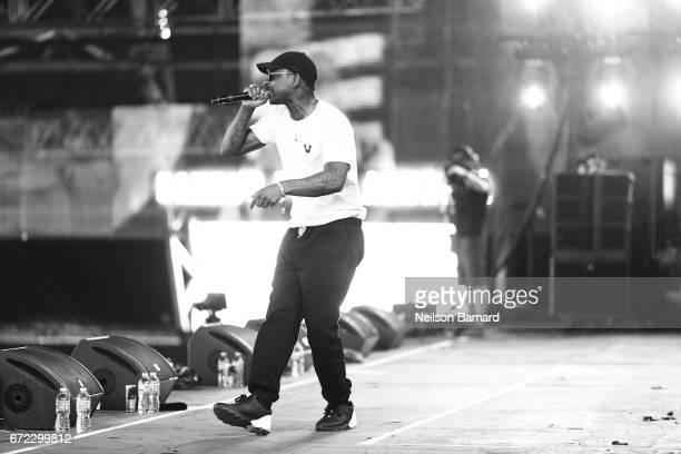 Skepta performs on the Sahara Stage during day 3 of the 2017 Coachella Valley Music Arts Festival at the Empire Polo Club on April 22 2017 in Indio...