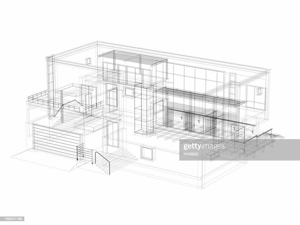 3D Sketch architecture abstract Villa : Stock Photo