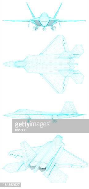 3 D desenho de arquitetura Força Aérea Americana F-22 Raptor 4