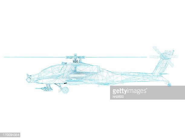 3d sketch architecture us army ah-64 apache attack helicopter 1 - helicopter photos stock pictures, royalty-free photos & images
