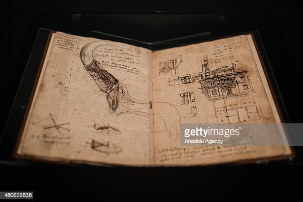 A sketch book belonging to Leonardo da Vinci is seen during the media tour for an exhibition in Mexico City Mexico on July 13 2015 The Palacio de...