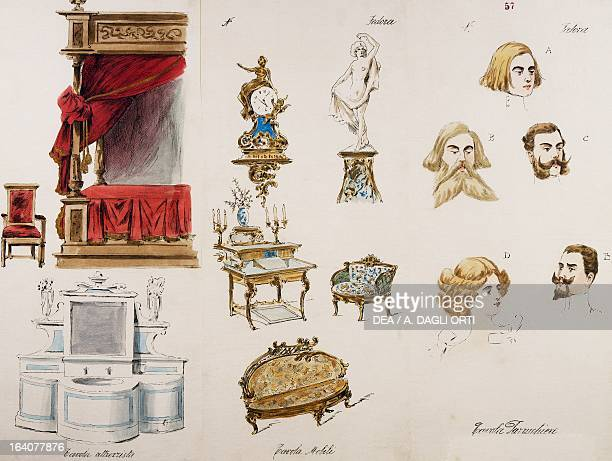 Sketch depicting stage furnishings and accessories for the premiere of Fedora opera by Umberto Giordano performed at the Teatro Lirico in Milan...