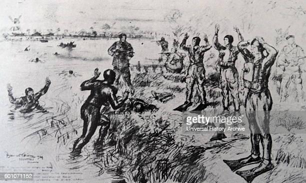 Sketch depicting the capture of German combat swimmers in Nijmegen, Gelderland during the Great War.