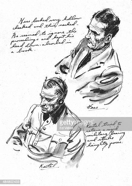 A sketch drawn for the US Army 'Stars and Stripes' newspaper shows Deputy Fuhrer Rudolf Hess and Field marshal Wilhelm Keitel in the dock at the Nazi...
