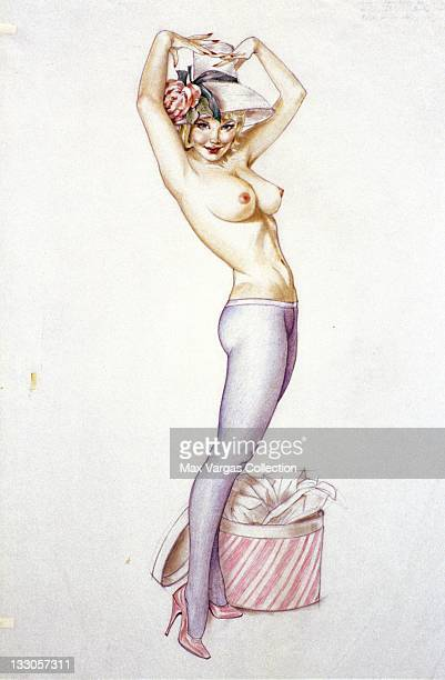 Sketch for Pinup art by Alberto Vargas titled 'Darling It's My Hat I Want Your Opinion On' for Playboy Magazine circa 1963