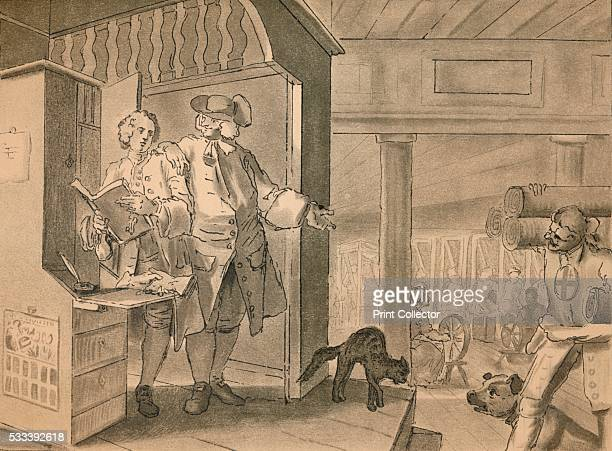 Sketch for Plate IV from 'Industry and Idleness' from 'William Hogarth' by Austin Dobson 1904 The industrious apprentice stands with his master in...