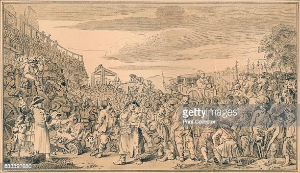 Sketch for plate XI of 'Industry and Idleness' from 'William Hogarth' by Austin Dobson 1904 'The idle 'prentice executed at Tyburn' The crowds gather...