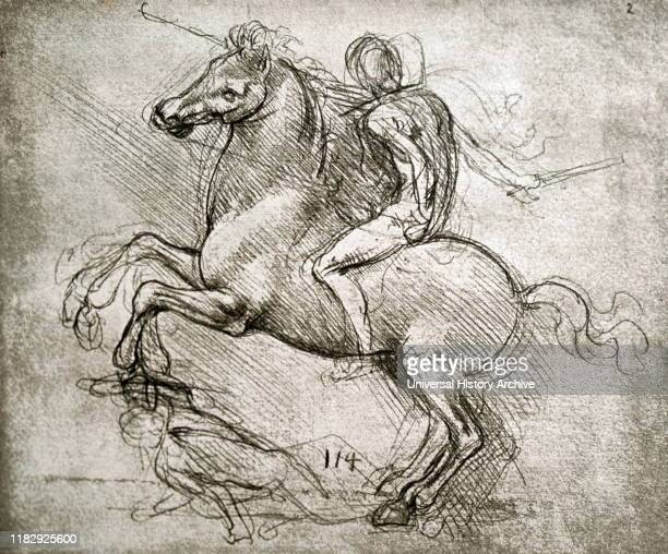 Sketch for the bronze horse of the Sforza Monument by Leonardo da Vinci Leonardo di ser Piero da Vinci an Italian polymath of the Renaissance