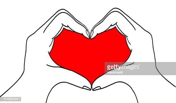 sketch hands showing heart shape - the human body stock pictures, royalty-free photos & images